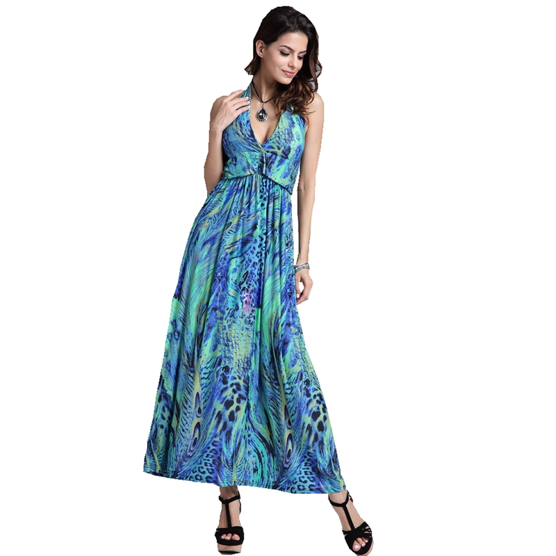 Fashion women Summer Bohemia Beach <font><b>style</b></font> strapless <font><b>Sexy</b></font> V-Neck Bandage <font><b>halter</b></font> <font><b>dress</b></font> peacock flower Pattern print casual <font><b>dress</b></font> image