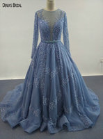 2017 Blue Ball Gowns Evening Dresses Scoop Neckline Floor Length Sweep Train See through Back Long Sleeves Party Prom Gowns
