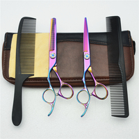 Left Hand 4Pcs Suit 6'' Customized Logo Purple JP 440C Human Hair Hairdressing Scissors Cutting Shears + Thinning + Combs C8002