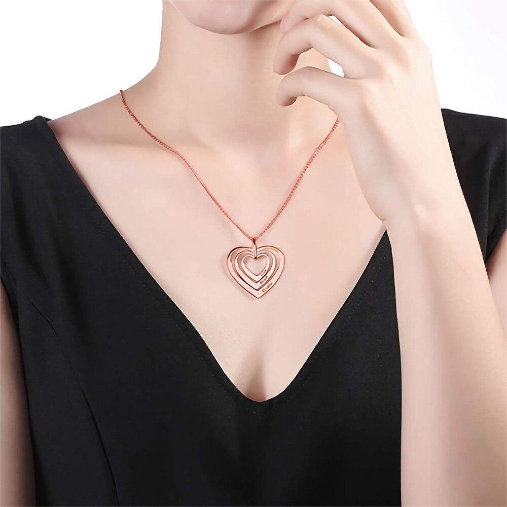 Amxiu Trois Noms Coeurs Collier 925 Sterling pendentifs en argent Graver Nom Collier Personnalisé Bijoux Pour Les Femmes Amant Cadeaux - 3