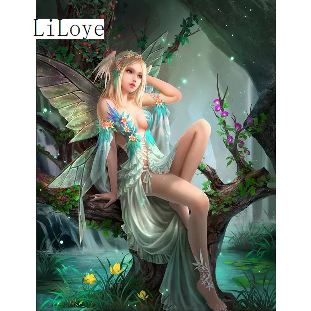 Li Loye Newest Needlework DIY Diamond Painting Kit 5D Diamond Painting Cross Stitch Flower Fairy Embroidery Decorative Art FZ791