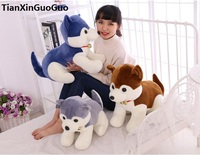 New Arrival Lovely Bell Husky Dog Large 60cm Soft Plush Toy Doll Throw Pillow Birthday Gift