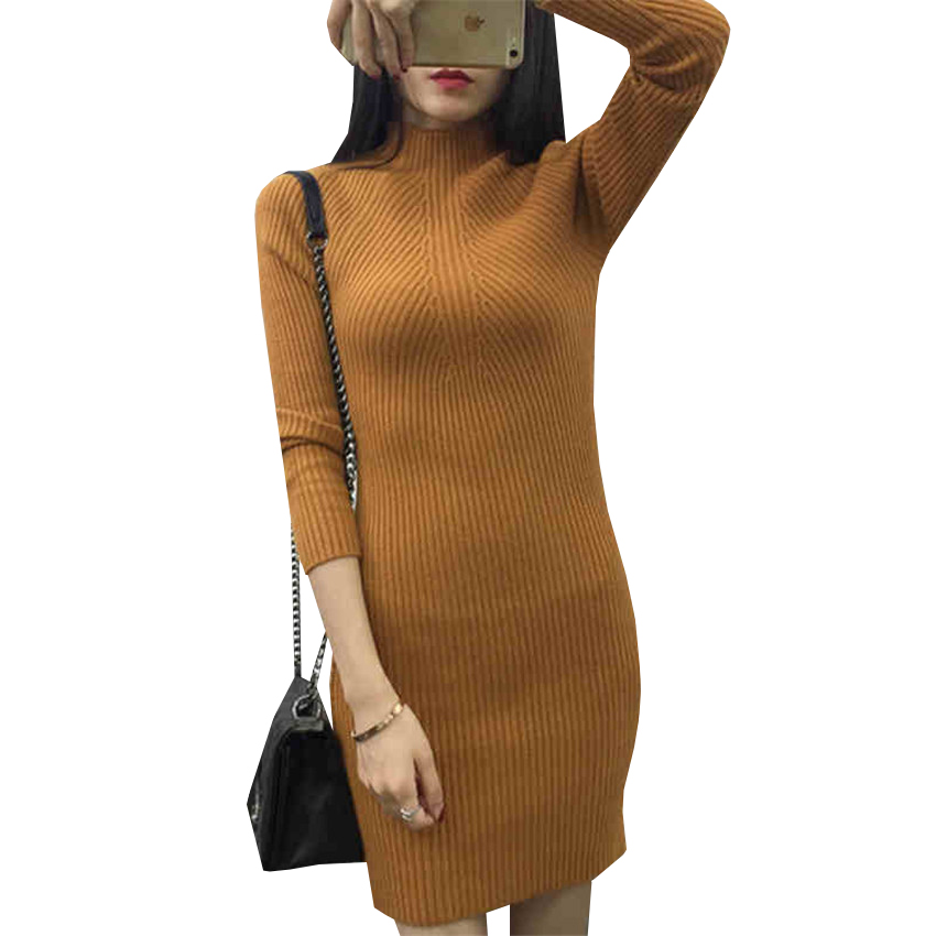 Women Sweater Dress New Autumn Winter Solid Bodycon Turtleneck Knitted Dresses Lady Sheath Package hip Bottoming Vestidos AB603 women turtleneck front pocket sweater dress