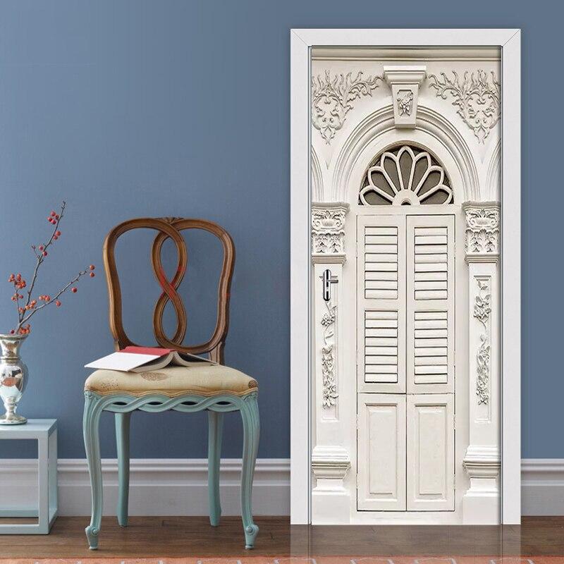 Europeu em relevo padrão porta adesivos 3d papel de parede quarto sala de estar decoração da porta 3d mural pvc auto-adesivo decalques à prova dwaterproof água