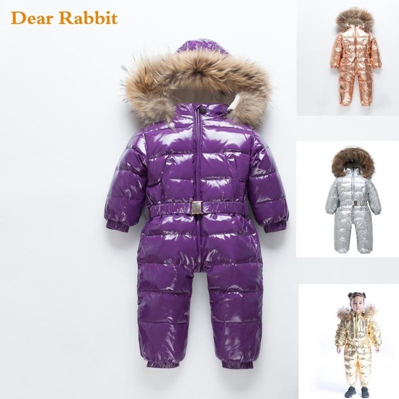 30 Russian Winter coat Baby Snowsuit 90 Duck Down Jacket Outdoor Infant Ski Clothes Girls