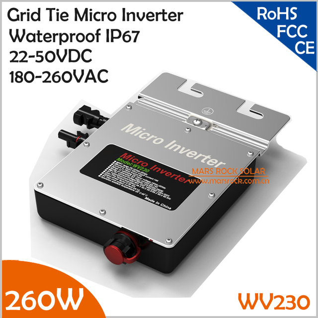 New Design Waterproof IP67!!!260W Grid Tie Micro Inverter, 22-50VDC to AC180-260V Pure Sine Wave with MPPT for 200-300W PV Panel