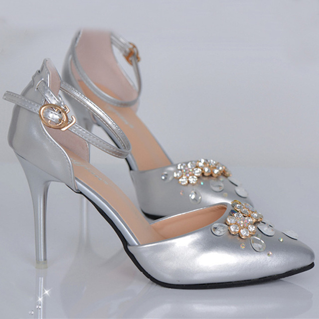 092f97a968f Stiletto Heel Handcraft Wedding Shoes Silver Pointed Toe Ankle Straps Bridal  Dress Shoes Lady Formal Dress Pumps Banquet Heels