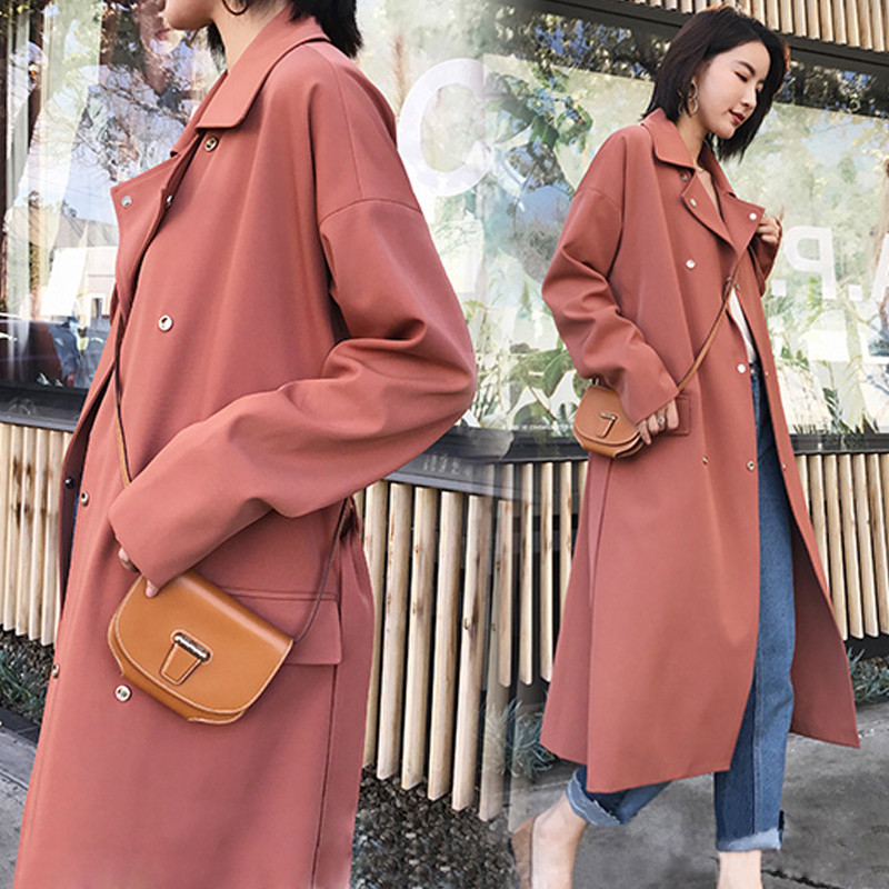 New Autumn Long Windbreaker Female 2019 Spring Women   Trench   Coat Casual Double-breasted With Belt Ladies Outerwear Large Size
