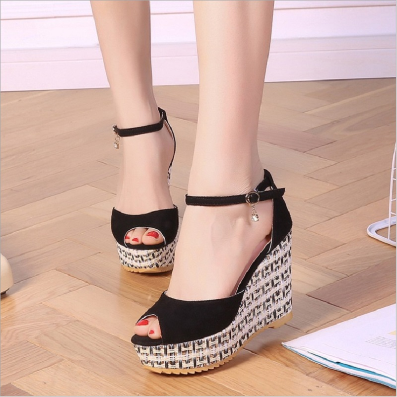 Sexy Wedge Heels Ankle Strap Sandals Women Shoes Platform Buckle Strap Flock Party High Heels Sandals Women Shoes Q0086 flock leather women ankle strap high heel sandals platform sexy fashion party shoes for woman black with 10cm heels ch a0060