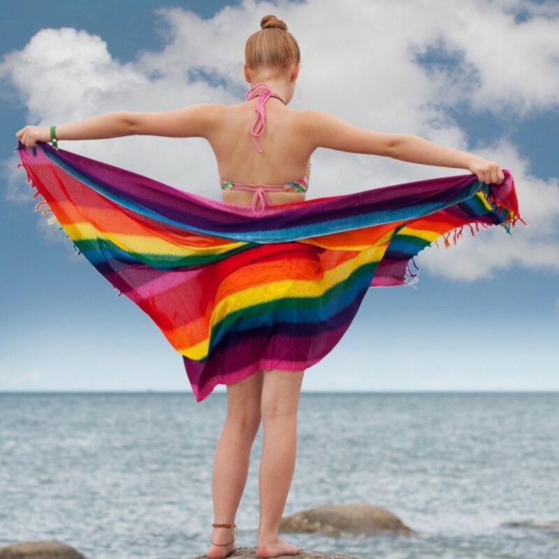100*145cm Color Striped Beach Towel Tapestry Chiffon Sunscreen Scarf Rainbow Blanket Soft Drap Mandala Home Decoration
