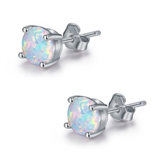 6MM Round White Fire Opal Stud Earrings For Women 100% Real 925 Sterling Silver Jewelry Cute Earrings Ear Jewellry Wedding Gift eiolzj white oval fire opal stone 925 sterling silver clip earrings for women bridal fashion jewelry free gift box three colors