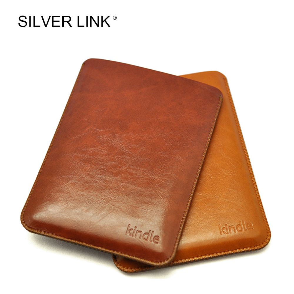 SILVER LINK PU Faux Leather Sleeve Pouch Bag For Amazon Kindle 7/8 Paperwhite 1/2/3 Case E-Reader Protector Cover Tablets Skin three fold ultra thin advanced leather for kindle fire hdx7 case high quality e book case 7 inch sleeve e reader anti dust case