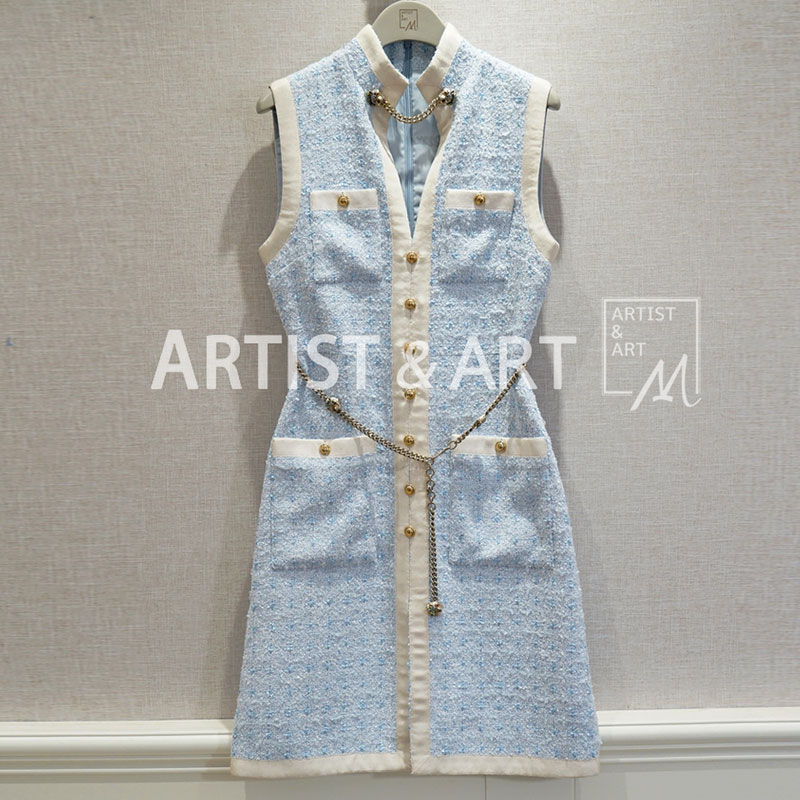 Red RoosaRosee Runway Sweet Pink Blue Sleeveless Tweed Dress Women s High Quality Slim Chain Buttons