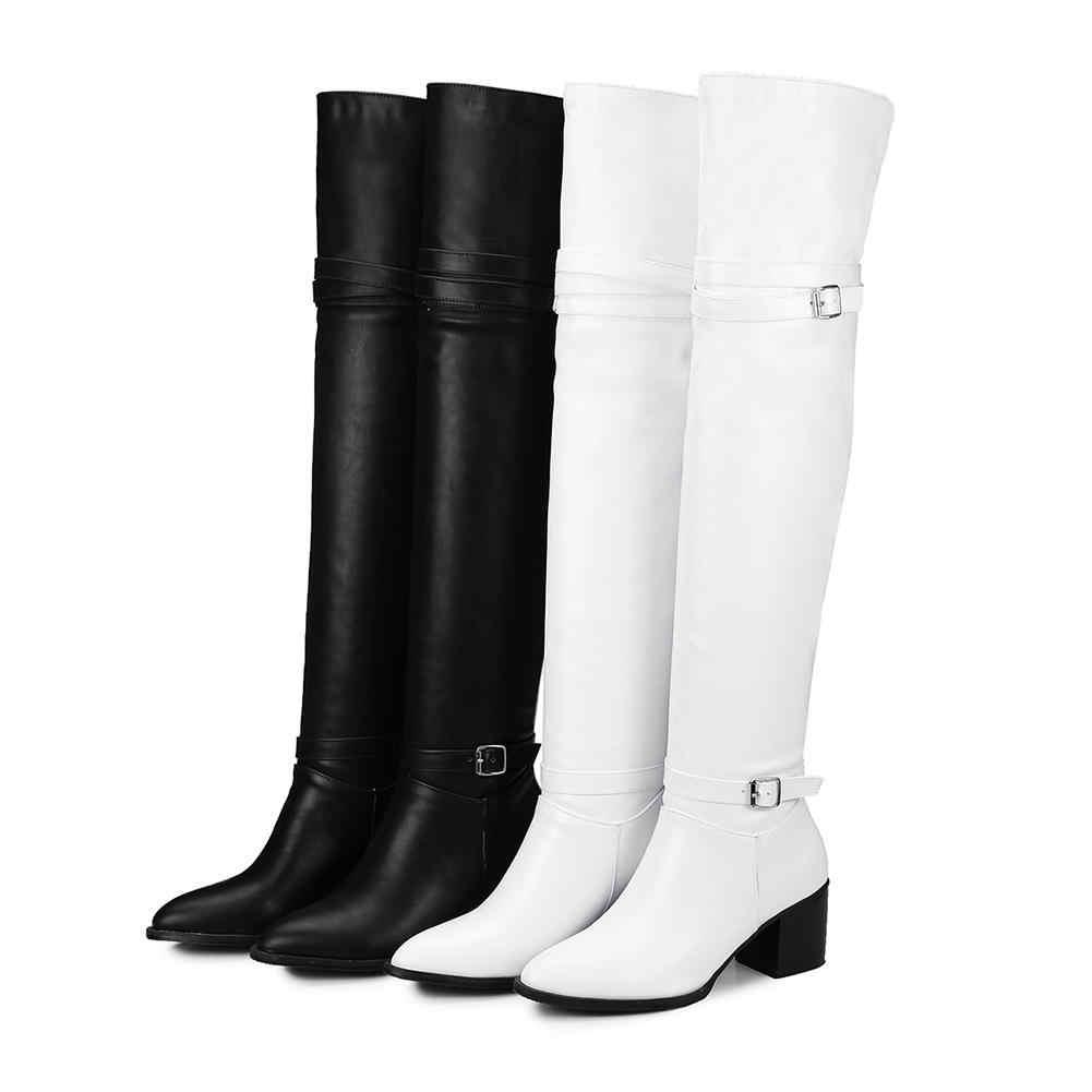 BONJOMARISA moda Otoño botas de caballero sobre la rodilla muslo botas altas mujeres 2020 nuevos zapatos de tacón alto Mujer de talla grande 32-48