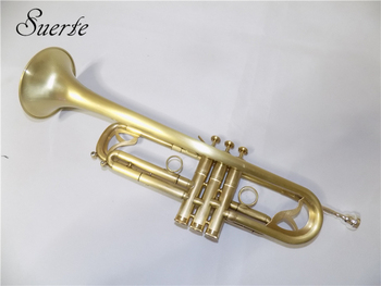 Bb Trumpet musical instruments professional Brass trompete Brush Finish with Case and Mouthpiece