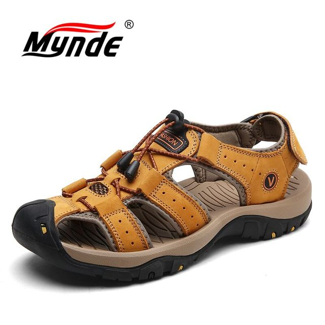 Mynde Brand Genuine Leather Men Shoes Summer New Large Size Men's Sandals Men Sandals Fashion Sandals Slippers Big Size 38 47