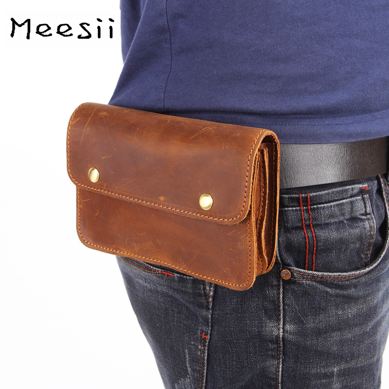 Meesii Fashion Men Waist Pack Genuine Leather Belt Waist Pouch Double-deck Male Fanny Pack Shopping Phone Bags Coin Purse