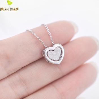 200dab46944d 925--plata esterlina doble corazón collares cortos y colgantes para las mujeres  chica romántica alergia amistosa joyería de plata llano