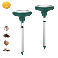 Solar Powered Mole Repeller LED Sonic Pest Repellent Stake Snake Outdoor Moles Voles Gophers Rats Control Tool 2pcs