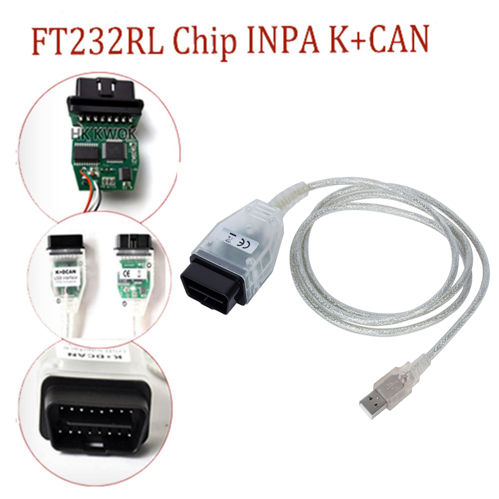 Green PCB Diagnostic Tools With FT232RL Chip for BMW INPA / Ediabas K+DCAN USB Interface D-CAN CAN Scan Reader OBD OBD2 Cable