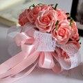 Buque de Noiva 2017 Romântico Segurando 30 pcs Flores Rosa Doce Laço Rosa Bouquets De Casamento Buquê de Noiva
