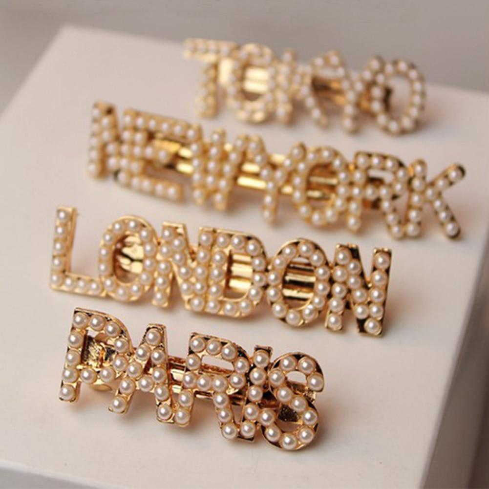2019 new 1pc Fashion Letter Pearls Metal Hair Clip Women Barrette New York Tokyo Paris London Headwear