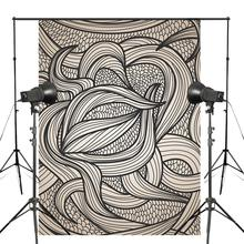 Abstract Black White Line Ribbon backdrops for photography Art Photo Studio Background Props 5x7ft Wall Backdrops