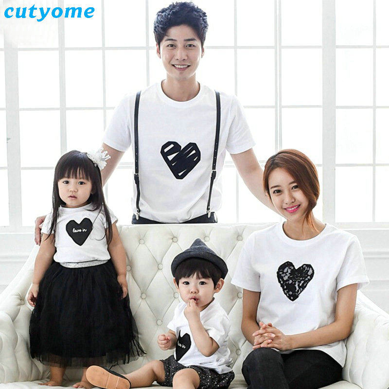 Family Clothing Rushed 2017 Summer Heart Pattern T Shirt