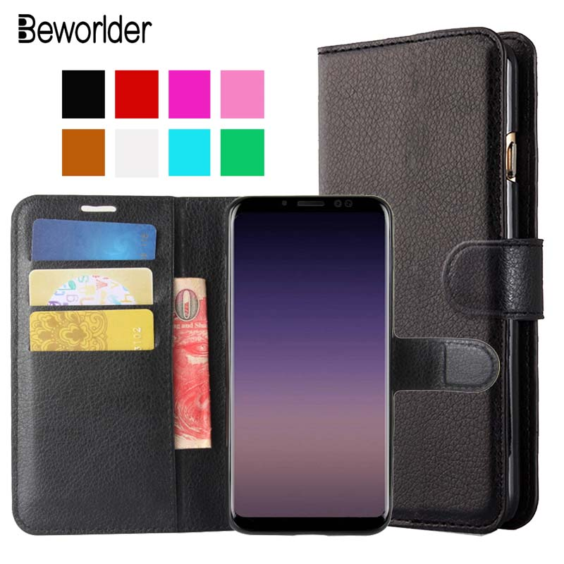 Beworder For Samsung Galxy A8 2018 Case A530F Flip Cases Cover PU Leather Case Lichee Pattern Card Slots For Samsung A8 2018