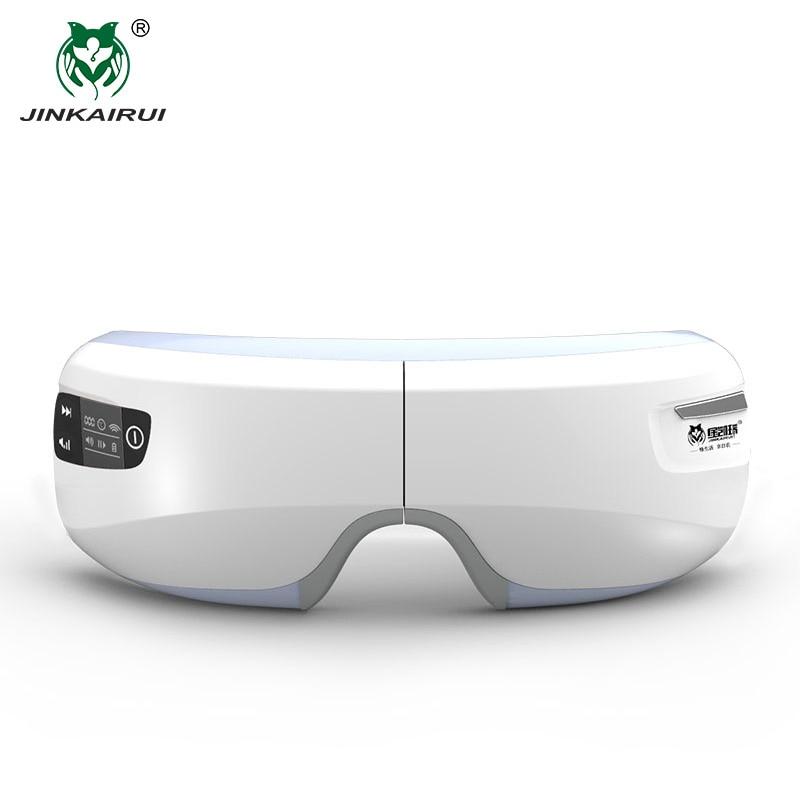 JinKaiRui inalámbrico recargable ojo masajeador infrarrojo lejano calefacción terapia de compresión Massagem dispositivo relajación con Mp3
