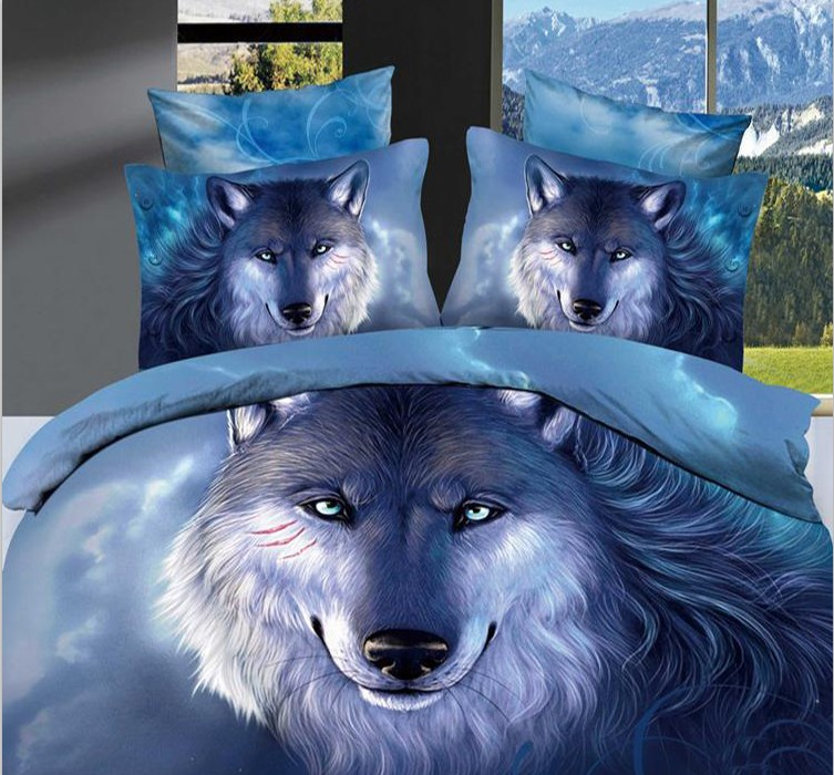 3d wolf bedding sets full super king size queen double fitted cotton bed sheets quilt duvet
