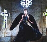 Черные взрослые Крылья Ангела из перьев фото реквизит сценическое шоу Хэллоуин костюм свадебные принадлежности для детской вечеринки пода