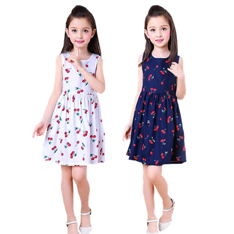Summer Children Kids <font><b>Girl</b></font> Cherry <font><b>Dress</b></font> Kids Teens Backless <font><b>Dress</b></font> With Bowknot 4-12 <font><b>Year</b></font> <font><b>Old</b></font> Children <font><b>Dresses</b></font> Vestidos image