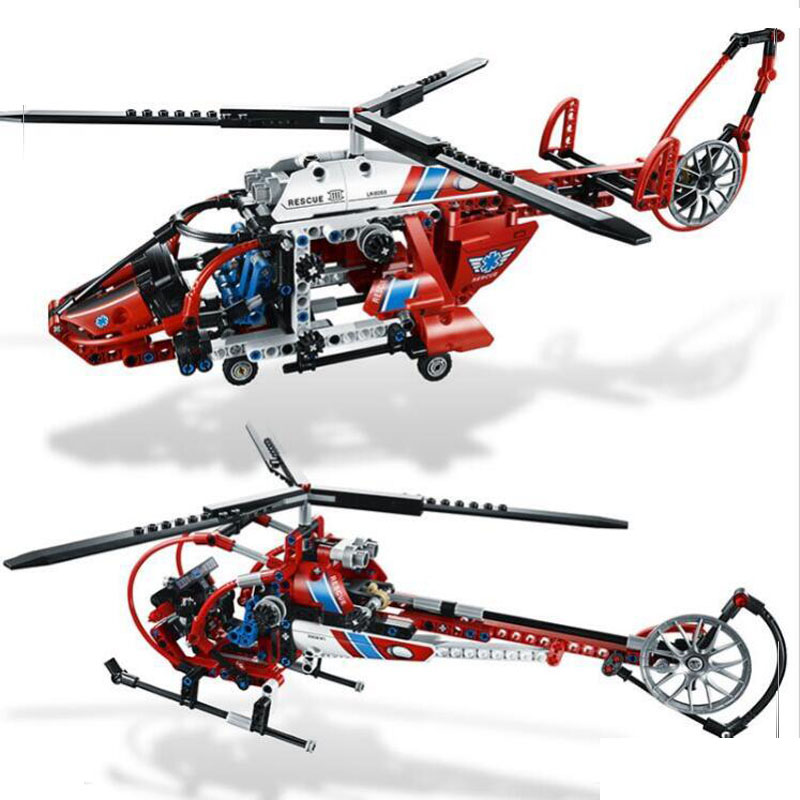 3355 3356 Technic AeroKing Rescue Helicopter building bricks blocks Toys for children Compatible with Lepin Bela цены