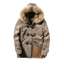Winter Cotton Jackets Coats Mens Fashion Thick Warm Big Wool Fur Hooded Plus Size Jackets For Men Winter Parkas