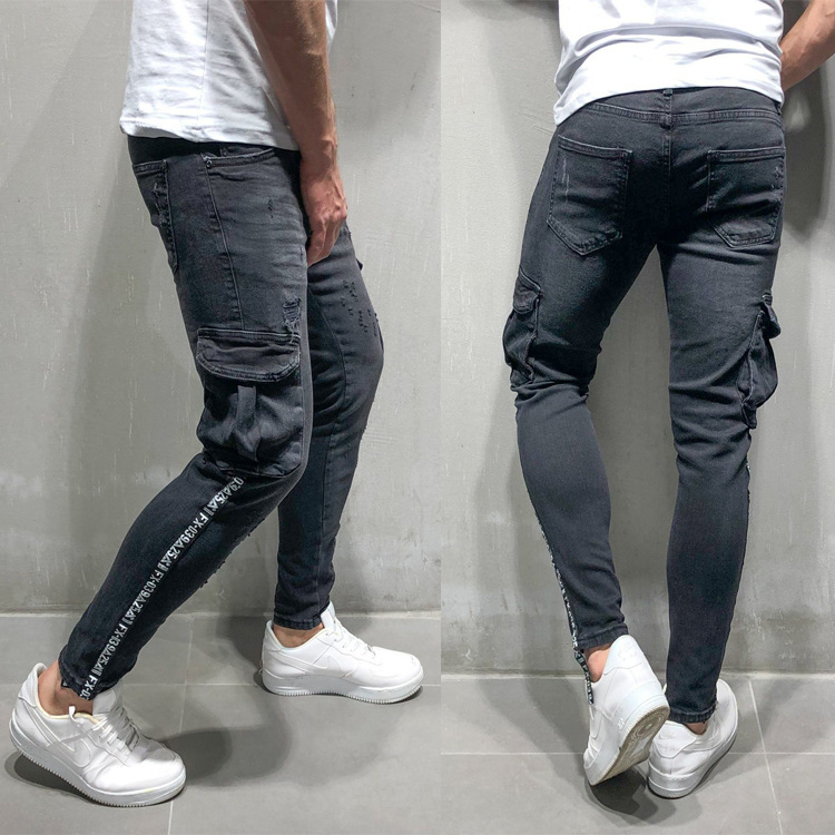 Vaqueros Hombre Funky Jeans Mens Trousers Ubrania Spodnie Jeans Shredded Tejanos Pocket Black Gray Calca Jeans Men Streetwear