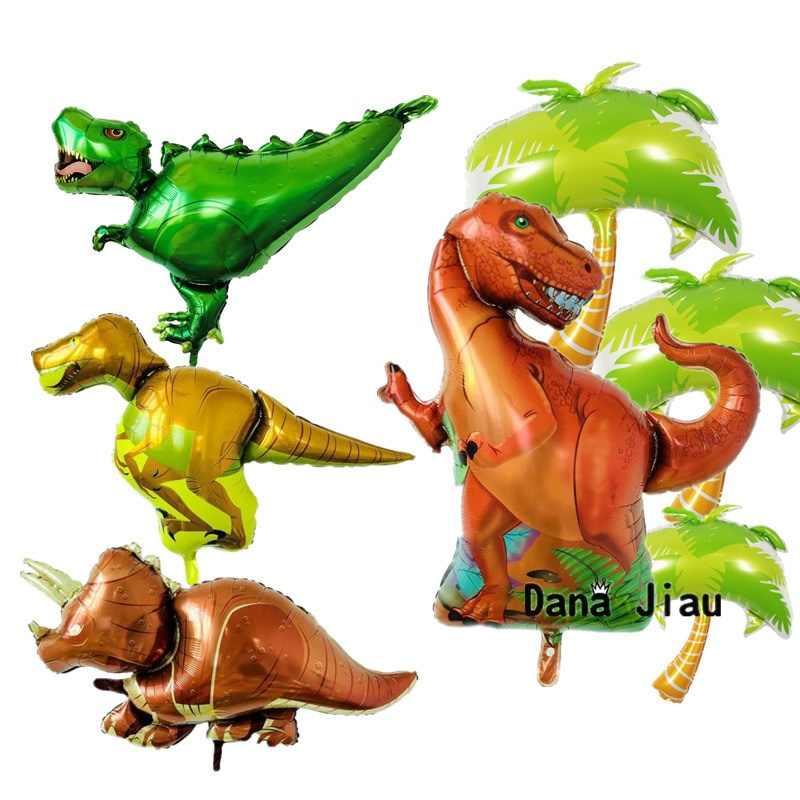Зеленый тираннозавр динозавр Фольга шар День Рождения вечерние украшения надувные воздущные шары Детские игрушки животное на тему зоопарка украшения лист