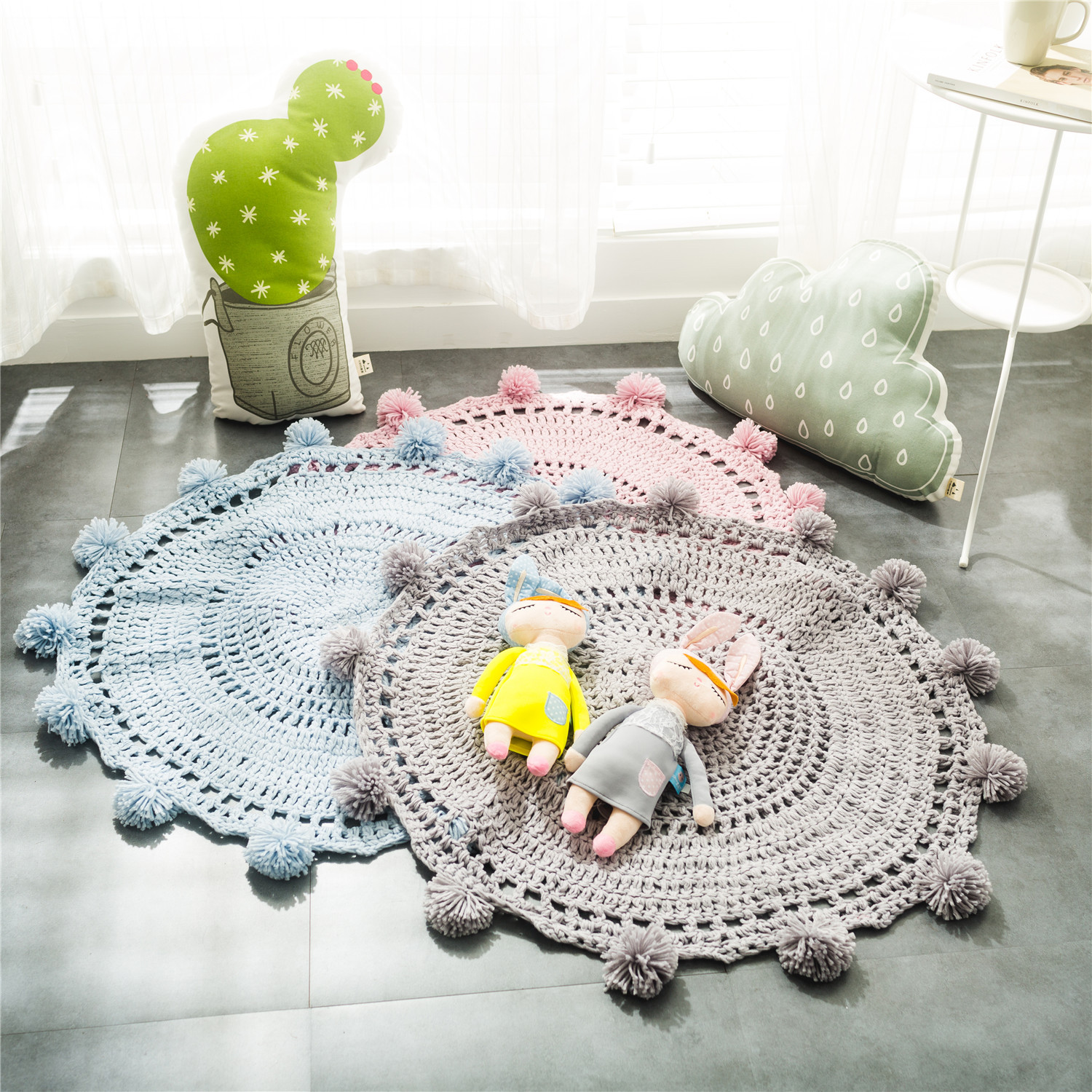 Home Decor 80CM Knitted Floor Mat Hand Woven Pure Color Carpets Round Rug Window Pad Kids Bedroom Play Rug Prop Tapis Wholesale