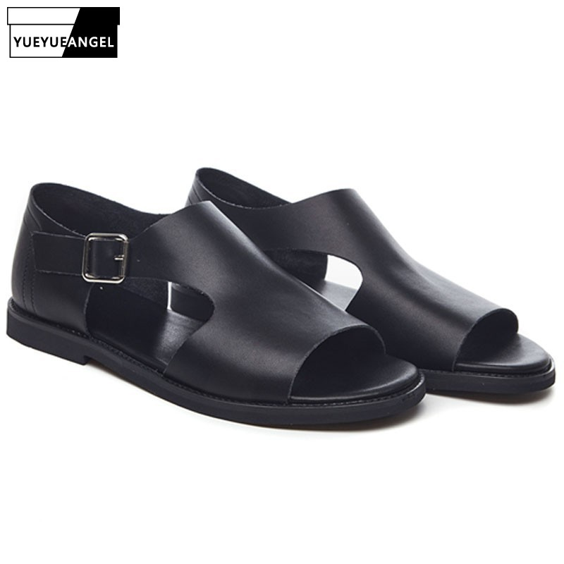 Men/'s Hollow Out Summer Beach Sandals Ankle Strap Shoes Rome Gladiator Leather
