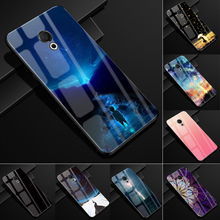 For Meizu 15 Lite M15 Case Tempered Glass Hard Cover For Meizu 15 Lite M15 Glass Back Case for Meizu M15 15Lite Fundas Coque cheap MEAFORD Quotes Messages Geometric Animal Marble Bumper Natural Scenery Space planet star Tempered Glass Phone Cases Dirt-resistant