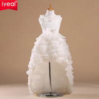 IYEAL White Princess Flower Girl Dresses For Weddings Kid Girls Party Pageant Dress With Long Train For Little Girls Glitz