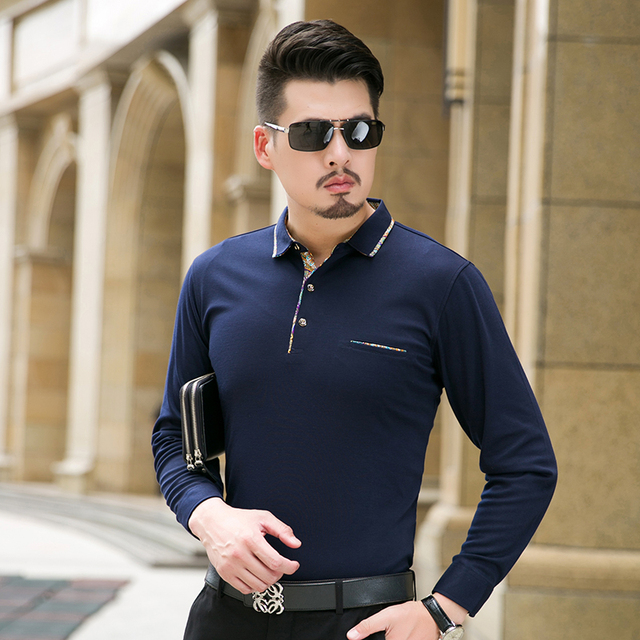 Polo shirts for men fashion 2016 autumn new long sleeve for Business casual polo shirt