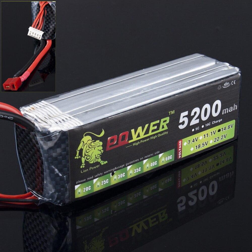 1pcs Lion Power 14.8V 5200MAH 30C  max 35C LiPo RC Battery For Airplane mos rc airplane lipo battery 3s 11 1v 5200mah 40c for quadrotor rc boat rc car