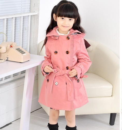 Free shipping  autumn of 2016 Korean children with double breasted hooded girl windbreaker jacket A055