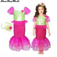 Halloween Cosplay Costume Children Little Mermaid Fancy Girl's Mermaid Stage Performance Princess Dress Sets with Headgear
