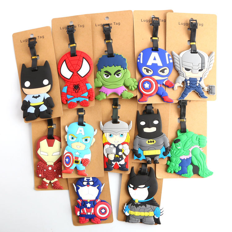 2018 Luggage Cover Q Version Of The Avengers Alliance Batman Iron Man Captain America Cartoon Silicone Luggage Tag Pendant Tags