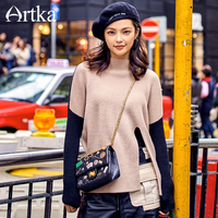 Artka 2017 New City Series Winter New Fashion Contrast Color Sweater Patchwork Slit Turtleneck Pullovers JS17026