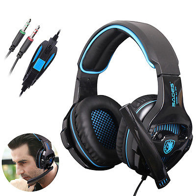 SADES SA-810 headset 3.5mm Wired Stereo PC Gaming Headset with Microphone for PC Laptop white blue gaming headphone