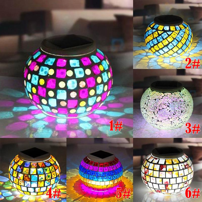 buy New Solar Powered Mosaic Glass Ball Garden Lights Color Changing Yard Balcony Lamps Waterproof Indoor Outdoor Light CLH pic,image LED lamps offers