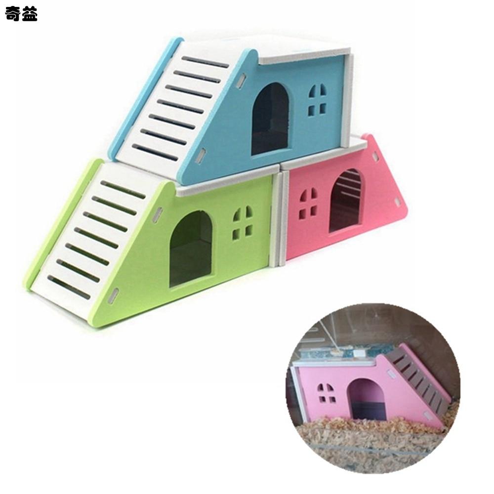 17x9x8.5cm Cartoon Hamster Toy Nest Small Animal Wood House Bed Cage Nest Pet Hedgehog Castle Toy Pet House XLZ9145